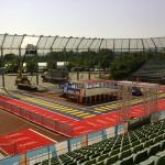 Zieleinlauf 20. Mai; Stadion im Aufbau